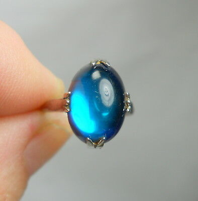 Antique Sterling Silver 925 Vintage Ring with Faux Blue Cabochon Stone - Size 6