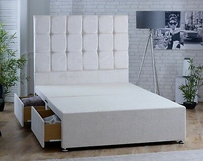 """CHENILLE FABRIC DIVAN BED, Option to buy 54"""" FABRIC BUTTON HEADBOARD, MADE IN UK"""