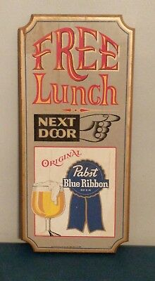 (VTG) 1960-70's Pabst Blue Ribbon Beer Wood Bar Sign Free Lunch Next Door