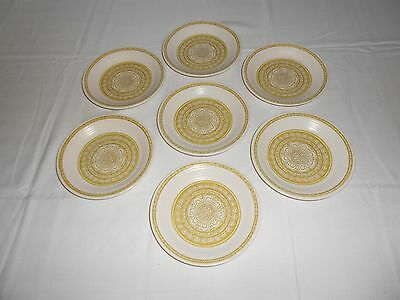 "7 Vintage FRANCISCAN EARTHENWARE HACIENDA Green - 6 1/2"" Bread Plates"
