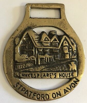 Vintage England Brass Shakespeare's house Equestrian Harness Badge Medallion