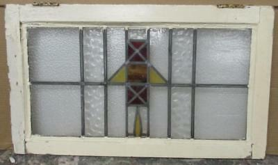 "MID SIZED OLD ENGLISH LEADED STAINED GLASS WINDOW Simple Geometric 27"" x 15.75"""