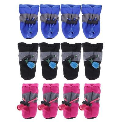 4Pcs Dog Cat Winter Warm Rain Boots Protective Pet Sports Anti-Slip Shoes Socks