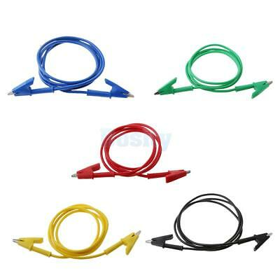 5x Double-ended Clips Cable Alligator Testing Probe Lead Wire 100CM 15A
