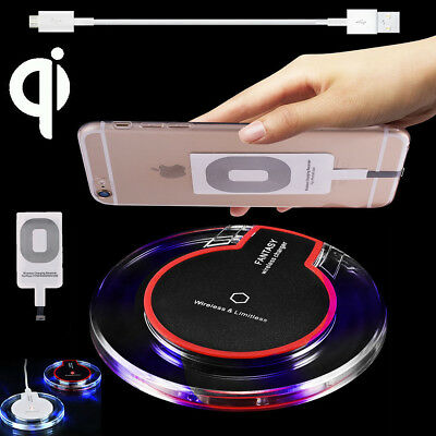 Clear Qi Wireless Fast Charger Mat Charging Pad +Receiver F iPhone 5/6/6s/7 Plus
