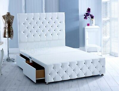 "(White Leather Divan Chesterfield Bed, 54"" Height Headboard, Made In Uk"