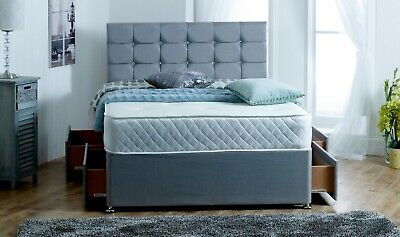 (Grey) Memory Foam Mattress Complete Divan Bed Set +  Mattress And Headboard -
