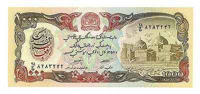 1979 Afghanistan 1000 Afghanis Note Crisp Uncirculated Pick#61a  Mosque w/ Doves