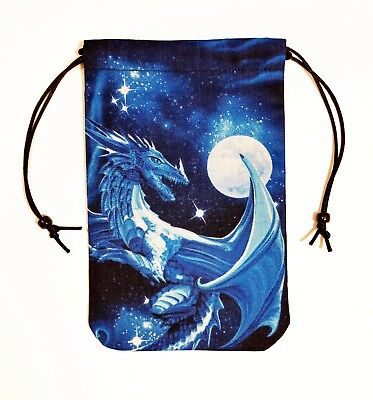 "Dragon Tarot Bag Drawstring Pouch for cards 5""x7"" - Fully lined Dragon's Watch 1"