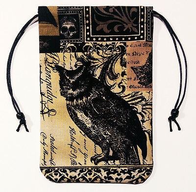 """Owl Tarot Cards Bag or Drawstring Pouch 5""""x7"""" - Fully lined, Nevermore"""