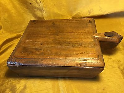 Antique Hand Hewn Sectional Spice Box w Handle & Pivot Lid /  Forged Iron Bolt