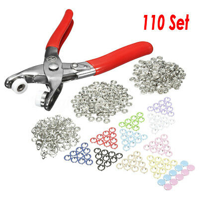 110Pcs Fastener Snap Pliers Button Resin Press Stud Punching Fixing Tool Kit