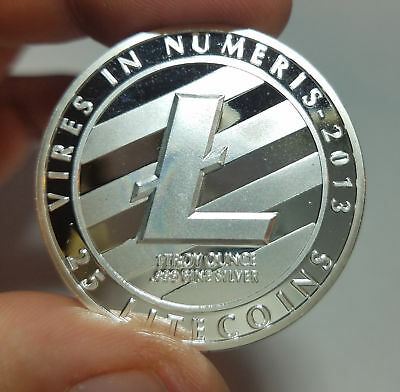 Silver Plated Litecoin Physical Collectible Coin Crypto Commemorative Miner Coin