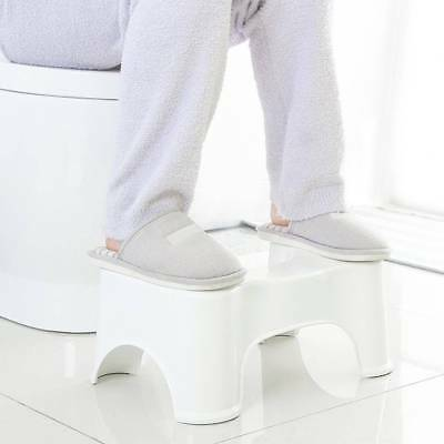 Toilet Stool Seat Foot Rest Bathroom Step Healthy Squat Aid White