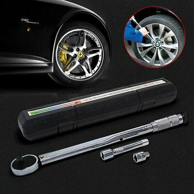 "28-210Nm 1/2"" 3/8"" Torque Wrench Driver Ratchet Wheel Extension Bar Tool Box UK"