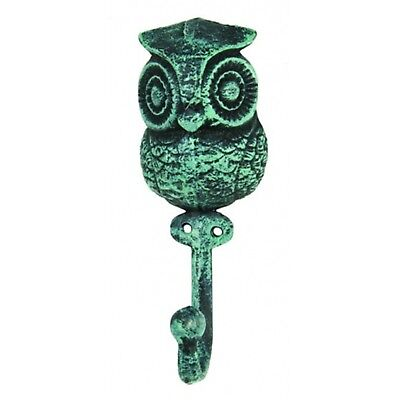 Antiqued Reproduction Cast Iron Verde Green Wise Owl Single Hook Wall Decor