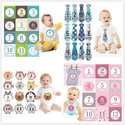 2018 Birthday Unisex Baby Monthly Stickers Photo Props Cartoon Infant Tie Shower
