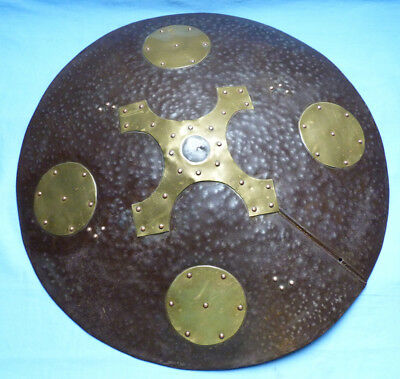 Large And Impressive 19Th Century Warrior's Decorative War Shield