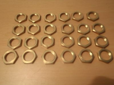 "24 Pack Of Solid Brass 1/2"" X 26 Tpi Hexagon Nuts For Lighting Etc, Old Stock."
