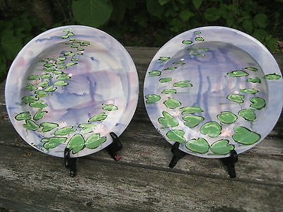 """4 Wonderful Lily Pads Display Plates Hand Painted Kiln Fired 10 """""""