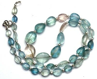 Natural Gem Multicolor Aquamarine Smooth Nuggets Necklace 20 Inches