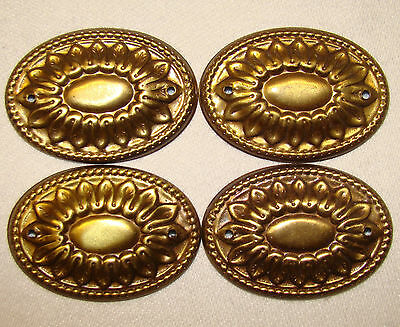 Set of 4 Antique Solid Brass Oval Decorative Ormalu Mounts