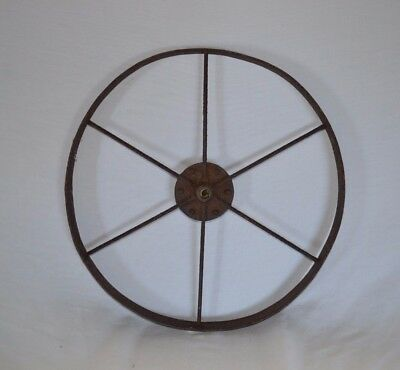 "Antique 14"" Wheel Wheelbarrow Wagon Cart Vintage Metal Cast Iron Steampunk"