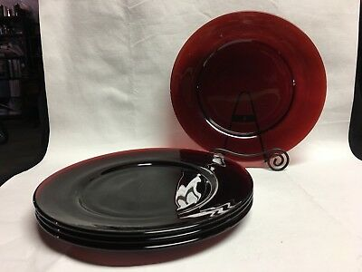 """Vintage Ruby Red Luncheon Plates 8 1/4"""" Set of 4"""