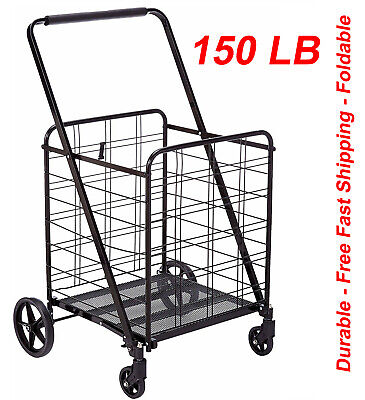 Uniware 1203 Heavy Duty 360 Degree Wheel Folding Super Jumbo Shopping Cart,Black