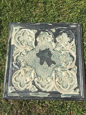 Shabby Chic Vintage Tin Ceiling Tile Mounted on Wood Frame - Cream & Green