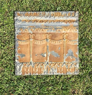 Shabby Chic Vintage Tin Ceiling Tile Mounted on Wood Frame - Chocolate Brown