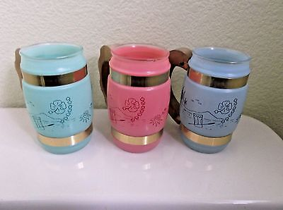 Siesta Ware Tiki Tropical Barrel Frosted Glass Mugs with Wood Handles