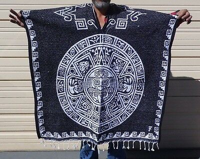 Mexican Poncho, Calendario Azteca ,Blanket Serape Gaban ,One Size Fit All,Black