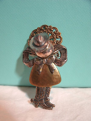 Vintage Metal Cowgirl Cowboy Ranch Country Angel Pin w/Boots & Hat Rodeo Girly *