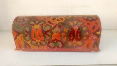Vintage Old Collectible Rare Hand Crafted Wooden Lacquer Colorful Painted Box