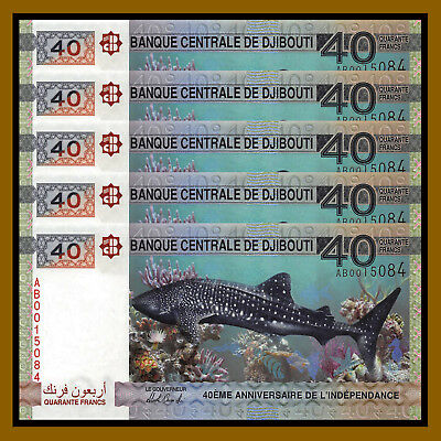 Djibouti 40 Francs x 5 Pcs, 2017 P-New Comm. 40th Anniversary of Independence