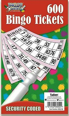 Jumbo Bingo Book Pad 600 Games Coded Tickets 6 to View Various Colours-8002(D28)