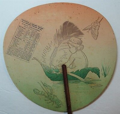RARE Chicago & Grand Trunk Railroad RR 1880 Advertising Fan w MAP & Timetable