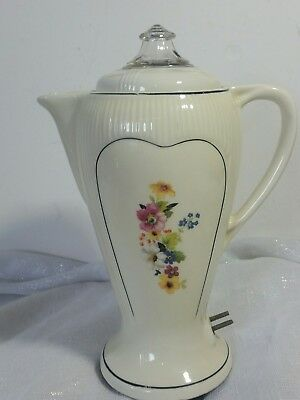 Vintage PORCELIER  COFFEE POT-PERCOLATOR BLACK TRIM No Cord