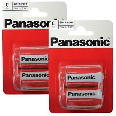 New 4 Pack of Panasonic C Battery Batteries New Zinc Carbon R14 1.5V Exp +2Years