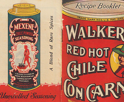 Vintage Mexican Red Hot Chile Recipe Booklet Walkers Austin TX Tamale Bean Carne