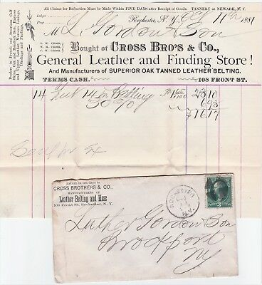 1881   Advertising Cover & Billhead   Cross Bro Leather Store - Rochester NY
