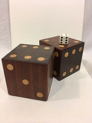 Large Hand Made Dark Brown Cherry Wood Dice - Pair Of Two Six Siders