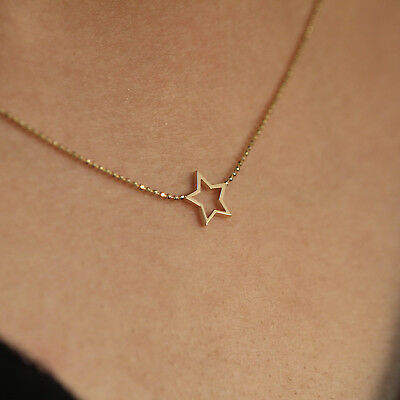 a2abc387197a Star Charm Choker Necklace 14K Solid Gold Ball Chain Layering Minimalist  Jewelry