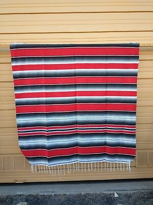 SERAPE XXL,5'X7', Mexican blanket, HOT ROD, Seat covers,MOTORCYCLE, RED & GRAY