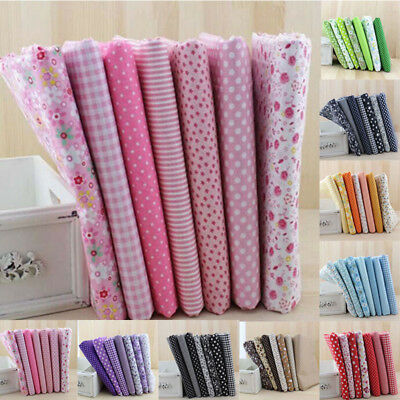 7pcs Pink Floral Patchwork Quilting Cotton Fabric Sewing Clothes DIY 50*50cm MO