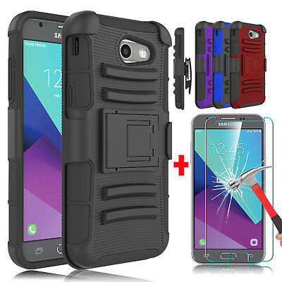 For Samsung Galaxy J3 Prime/Emerge/Luna Pro Holster Case+Glass Screen Protector
