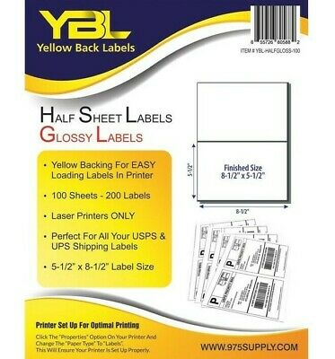 "YBL 1000 Half Sheet Self Adhesive Shipping Labels 8.5 X 5.5""  Yellow Backing"