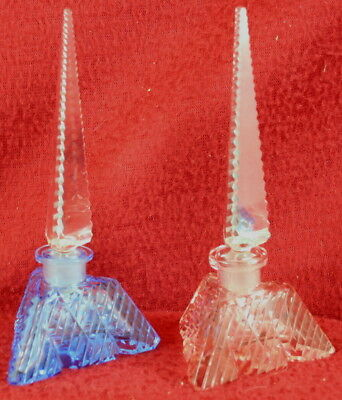 Pair 1930s Ornate Cut Glass BLUE & PINK Dauber Perfume Bottles CZECHOSLOVAKIA