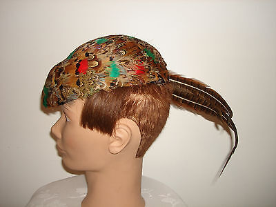 Vintage Original Ditzie Creation American Design Pheasant Feather Derby Hat  22